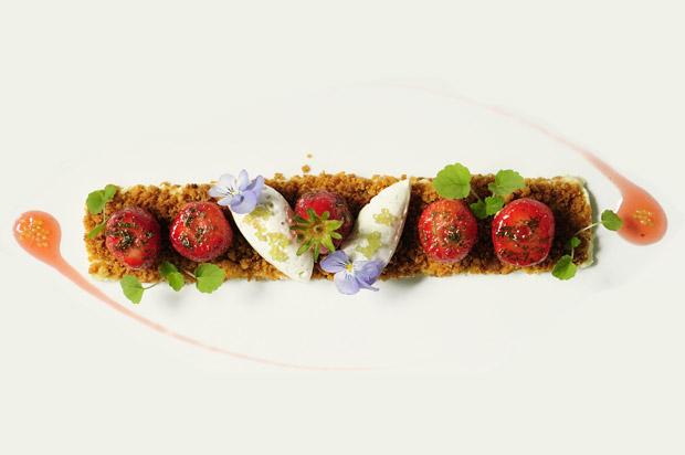 Mi-sablé,mi-crumble,fraises de Plougastel et mélisse