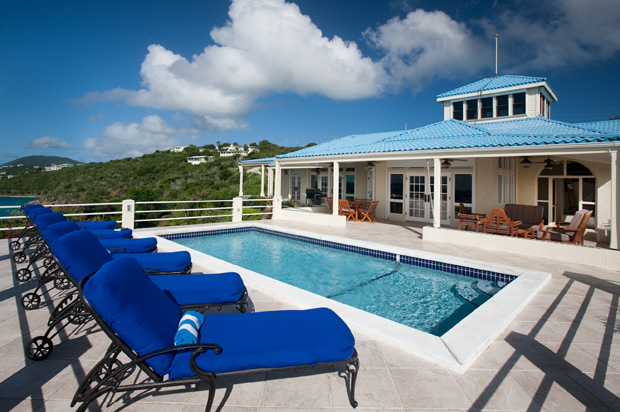 St. Thomas blue serenity pool deck.