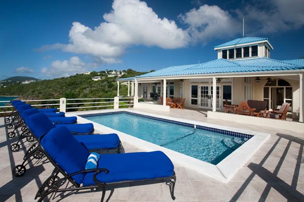 St. Thomas blue serenity pool deck.