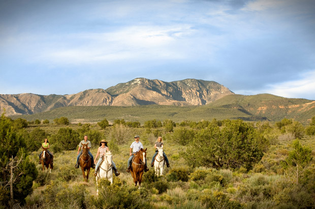 Exploring the spectacular nearby 7,000 acre Snow Canyon State Park on horseback