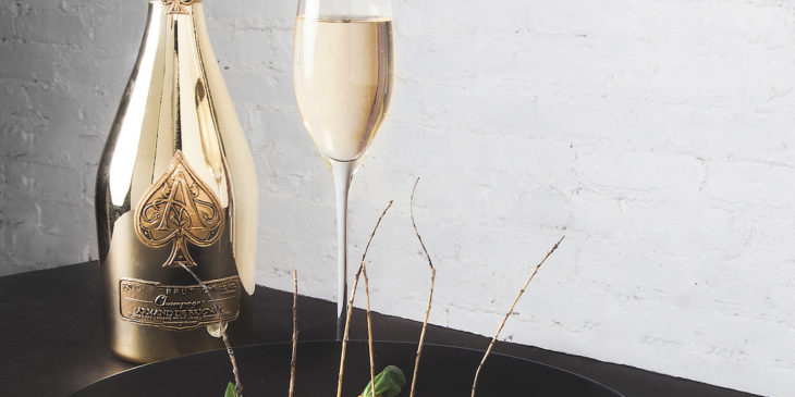 Armand de Brignac's Champagnes are produced in a multi-vintage style and the Brut Gold cuvée is a blend of the grape varieties: Chardonnay, Pinot Meunier and Pinot Noir.