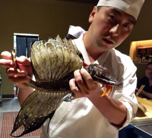 Evoking Game of Thrones, the Hakkaku (Sailfin Poacher) is presented to awed guests before becoming a delicious tartare by the masterful hands of Chef Jackson Yu.