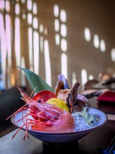 Omakase's Japanese conch and sweet shrimp sashimi