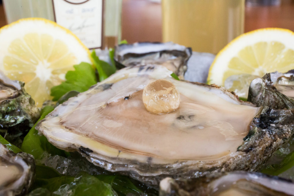 Oyster with a Rutte gin pearl spirit (photograph by Margaret Pattillo)